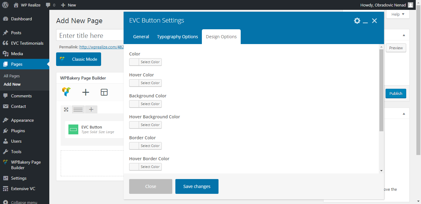 WP Realize Extensive VC plugin - Button shortcode
