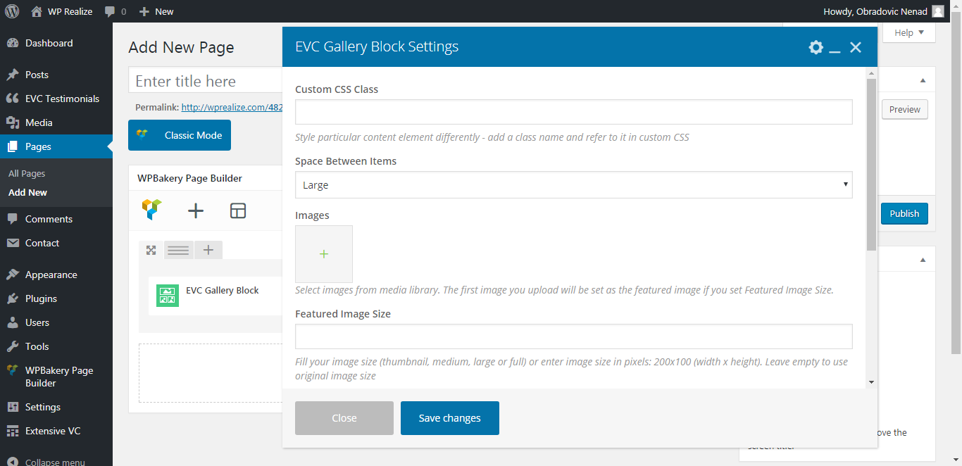 WP Realize Extensive VC plugin - Gallery Block shortcode