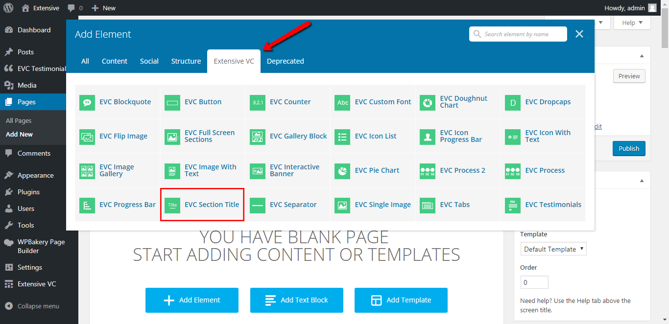 WP Realize Extensive VC plugin - Section Title shortcode
