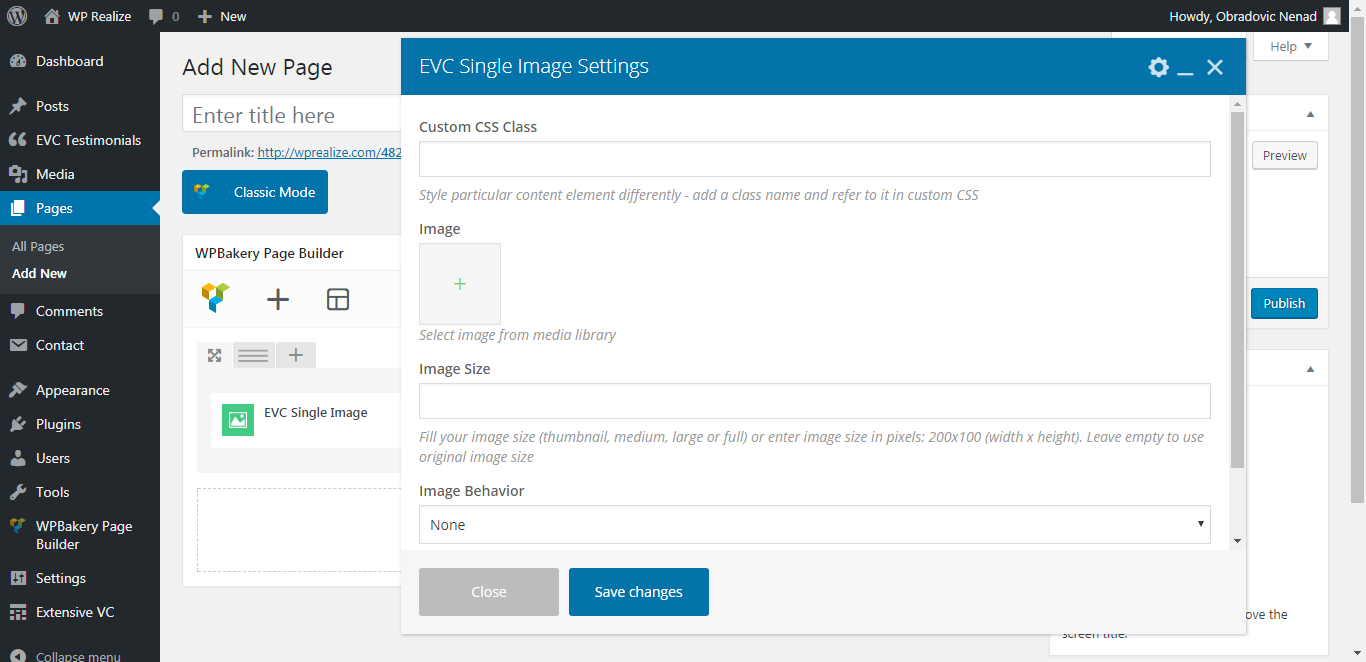 WP Realize Extensive VC plugin - Single Image shortcode