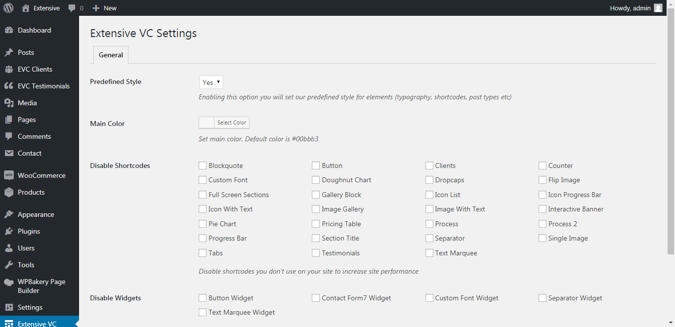 WP Realize Extensive VC plugin - Admin Settings