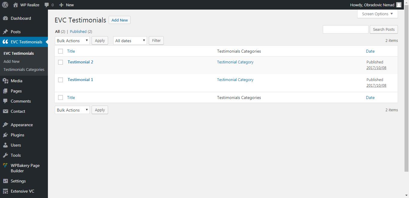 WP Realize Extensive VC plugin - Admin Testimonials Item