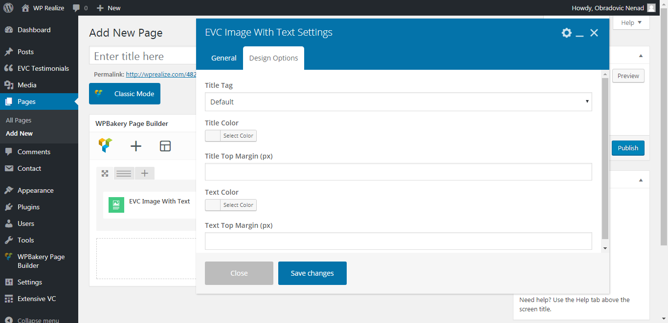 WP Realize Extensive VC plugin - Image With Text shortcode