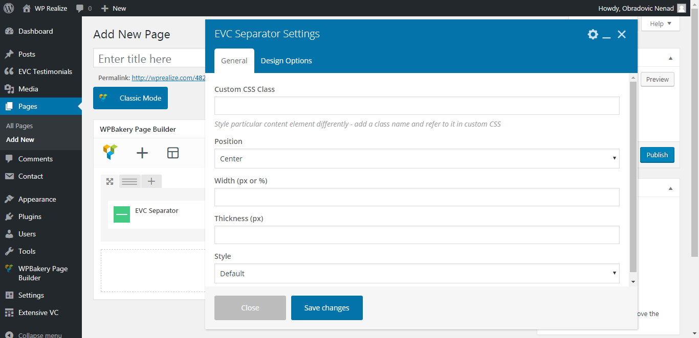 WP Realize Extensive VC plugin - Separator shortcode