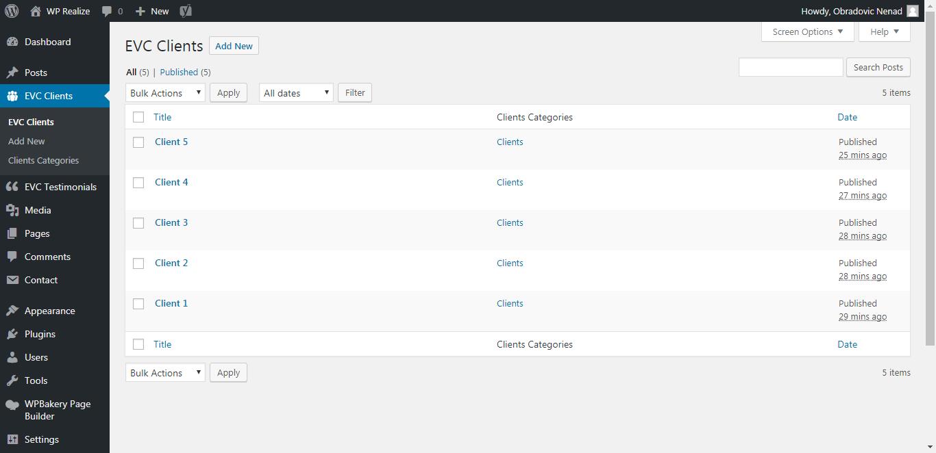 WP Realize Extensive VC plugin - Admin Clients Items