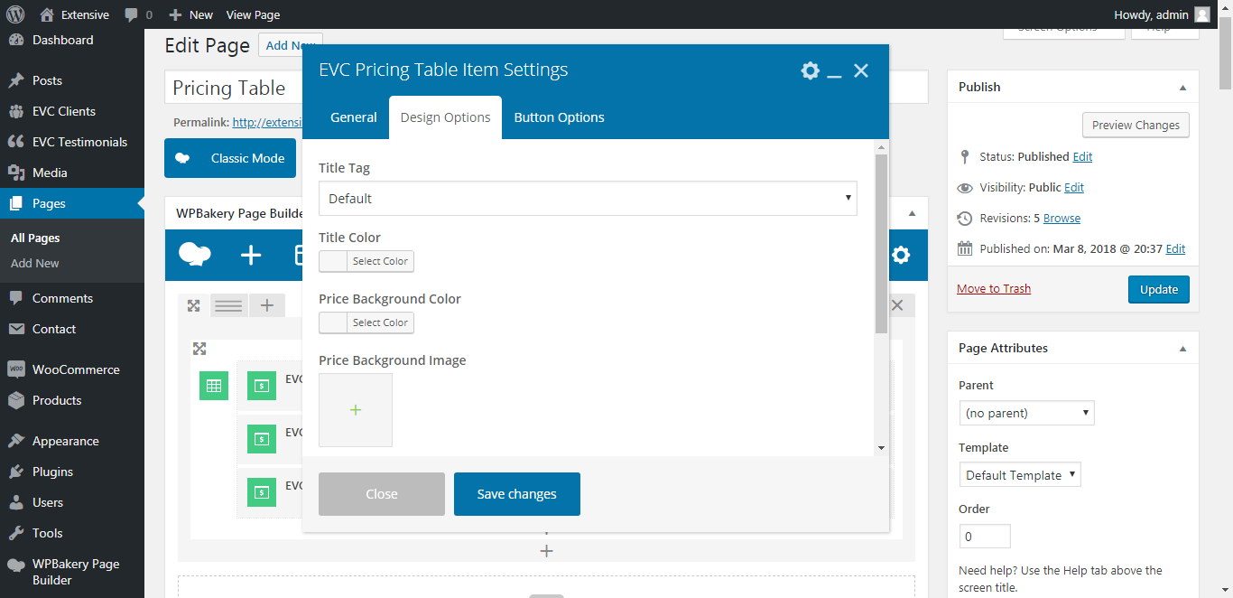 WP Realize Extensive VC plugin - Pricing Table shortcode